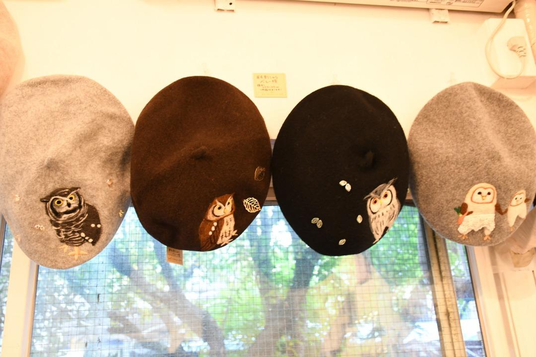 フクロウのベレー帽